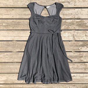 eshakti Gray Polka Dot Pin up Dress w Pockets L 14